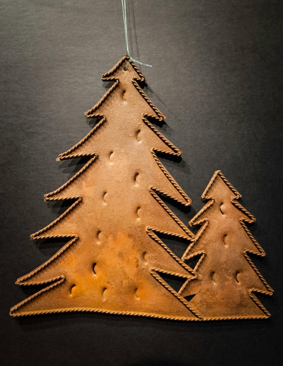 Rusted Tin Double Pine Tree Ornament