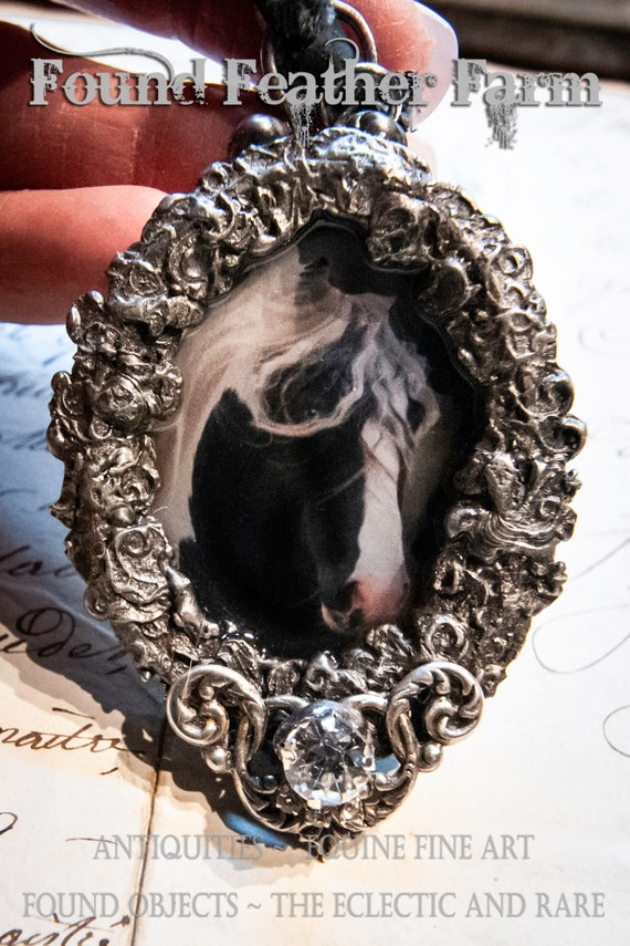 Handmade Gilded Solder Equine Pendant Featuring a Stunning Gypsy Horse Stallion