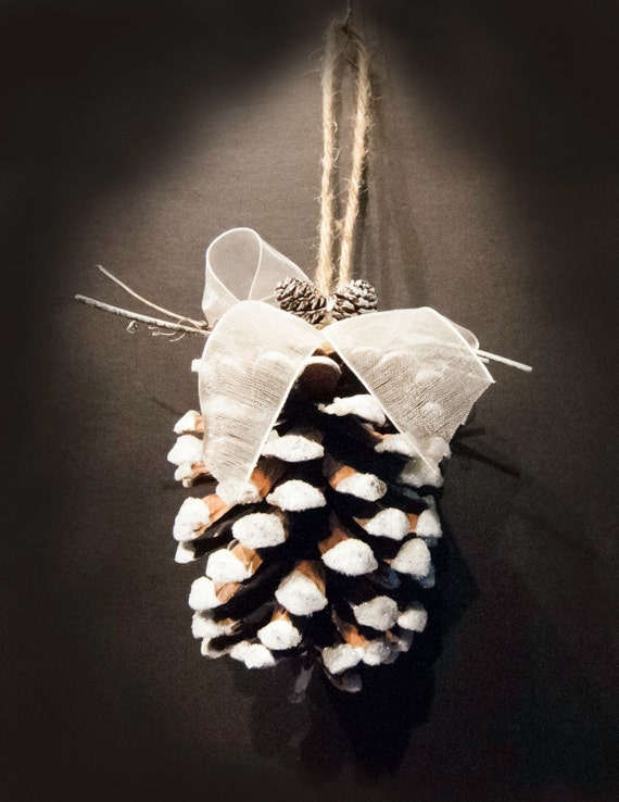 Frosted Snow Covered Pinecone Ornament with Ribbon
