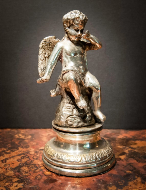 Sterling Silverplate Over Brass Winged Cherub