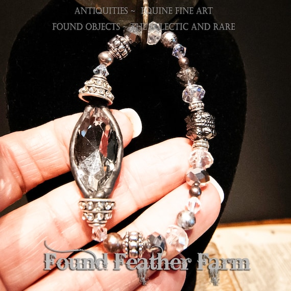 Handmade Small Stretch Beaded Bracelet with Soldered Silvered Crystal and Clear Glass Czech Beads and Rhinestones