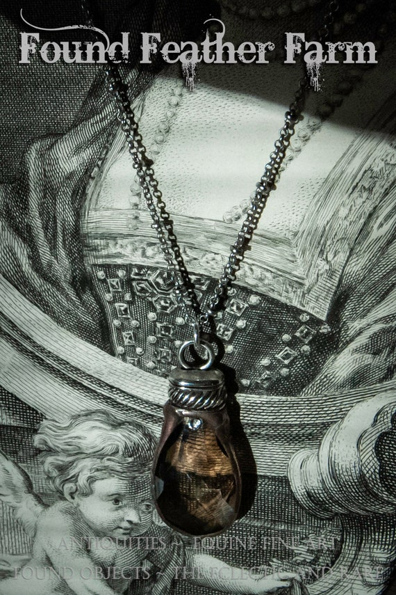 Handmade Soldered Honey Crystal Pendant Necklace with a Silver Pewter End Cap and a Delicate Silver Dot Chain