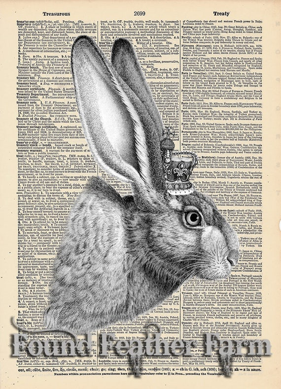 """Vintage Antique Dictionary Page with Antique Print """"The French Rabbit with Crown"""""""