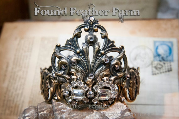 Handmade Brass Acanthus Crown With Brass Shield Flourish and Vintage Jewels