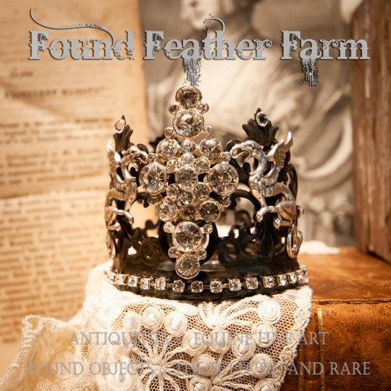 Handmade Tin Crown Embellished with Vintage Brooch and Jewels