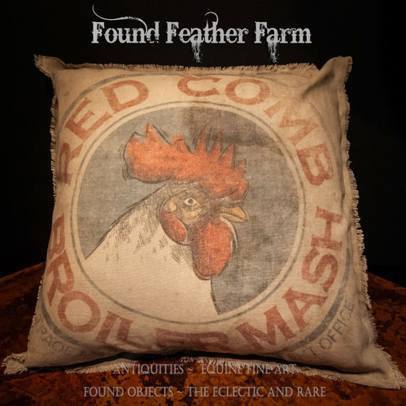 Vintage Handmade Reproduction Red Comb Broiler Mash Feed Sack Pillow