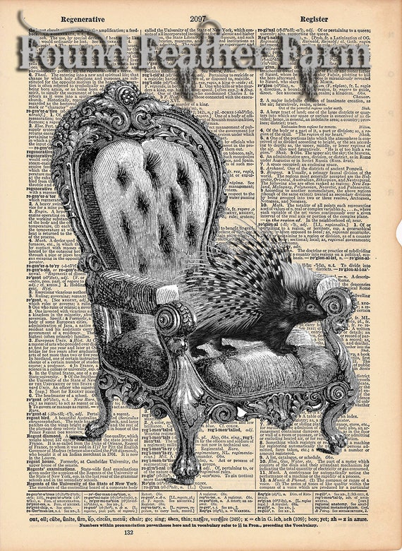 """Vintage Antique Dictionary Page with Antique Print """"The Comfy Chair"""""""