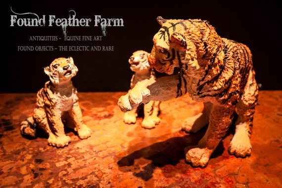 Bengal Tiger Mother and Two Cubs Resin and Hard Rubber Figurines