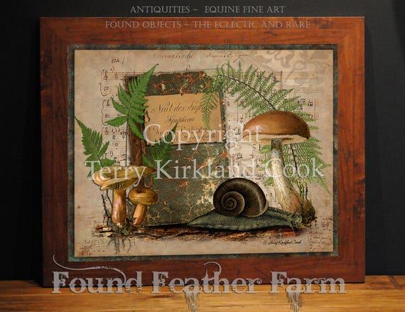 "The Forest Floor ~  Original Vintage Art Collage 20"" x 24""Framed Giclee Print"