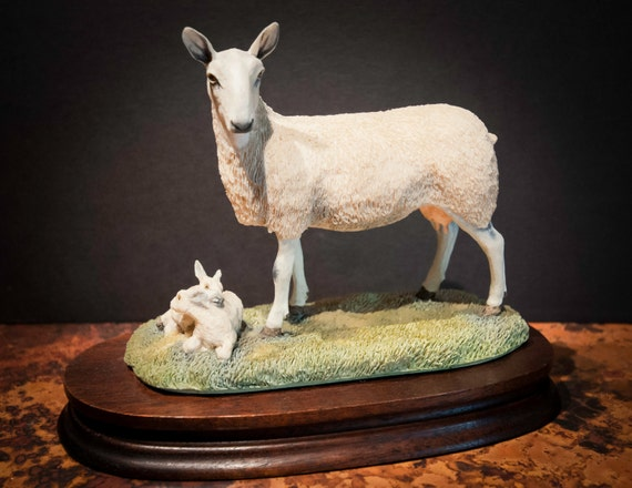 English Border Leicester Sheep with Lambs Collectible from Scotland