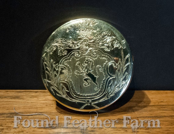 Small Lacquered Brass Round Box with British Etched Designs