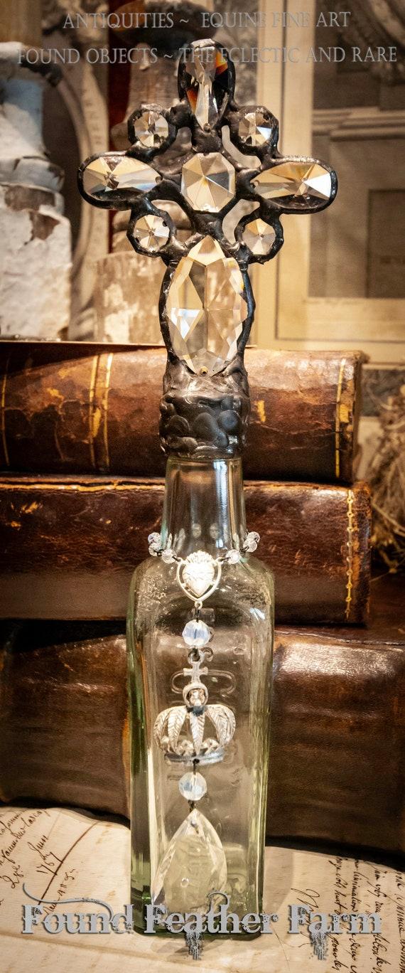 Handmade Glass Cross Bottle with an 1876 era Antique Green Glass Bottle Base