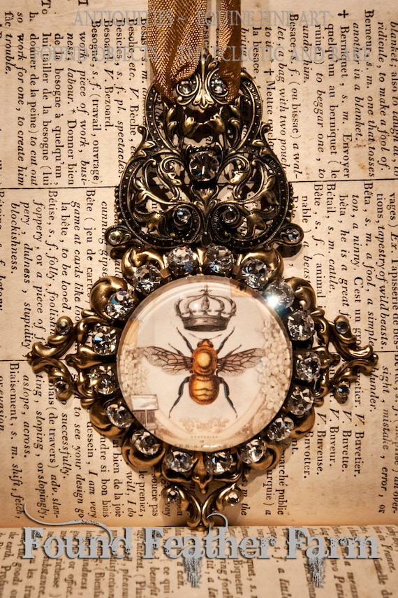 Handmade Medium Embellished Glass and Brass Honey Bee and Crown Ornament with Gold Hanging Ribbon