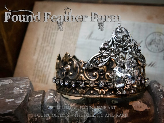 Handmade Brass Crown with Silver Flourish and Silver Details with Vintage Rhinestones
