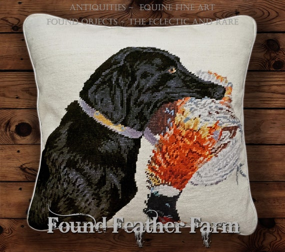 """Handmade 18"""" x 18"""" Needlpoint Pillow with a Black Labrador Dog Retrieving His Pheasant and with Goose Down Fill"""