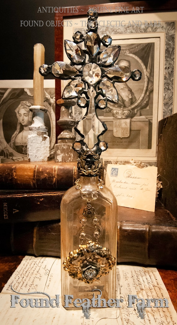 Handmade Glass Cross Bottle with a Century Old Antique Clear Glass Bottle Base