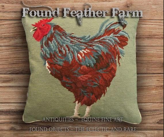 Handmade Needlepoint Pillow of a Rhode Island Red Chicken with a Down Insert