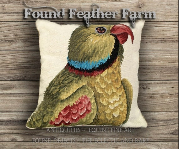 Handmade Colorful Parrot Looking Right Needlepoint Pillow with Goose Down Insert