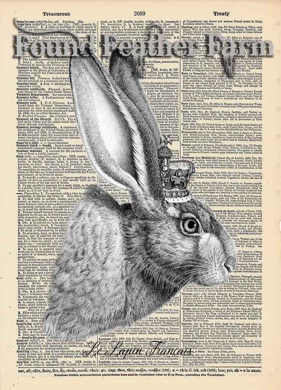 """Vintage Antique Dictionary Page with Antique Print """"The French Rabbit with Script"""""""