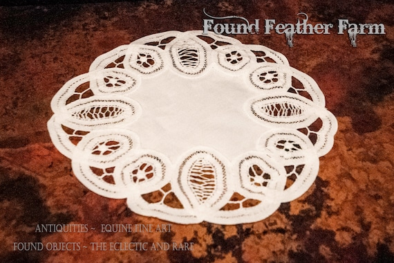 Set of 6 Vintage White Open Cutwork Embroidered Lace Rounds