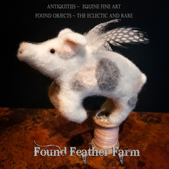 Adorable Handmade Needle Felted Grey and White Spotted Flying Pig on a Vintage Wooden Thread Spool