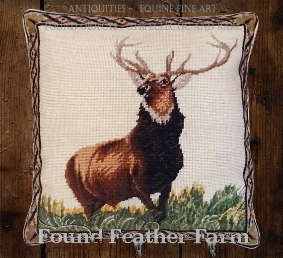 "Handmade Wool 18"" x 18"" Needlepoint Pillow of a Majestic English Elk with Down Fill"
