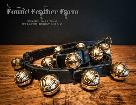 Vintage Solid Brass Sleigh Bells on a Double leather Strap