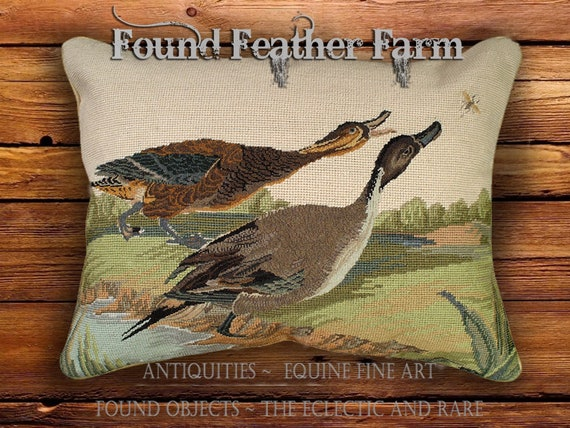 Handmade Needlepoint Pillow of Two Pintail Ducks with Goose Down Insert