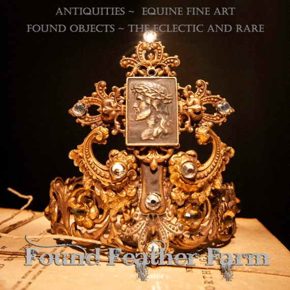 Handmade Ginger Brass Crown with a Jeweled Brass Cross and a Detail of the Messiah