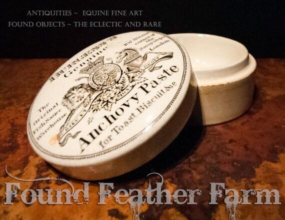 English Antique Burgess Anchovy Paste Jar
