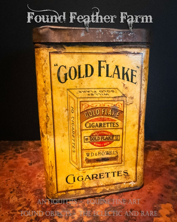 Antique Gold Flake Early 1920's Cigarette Tin Box