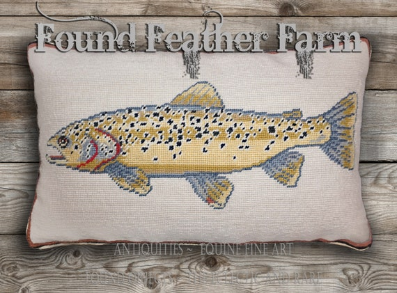 Handmade Needlepoint Pillow of a Brown Trout with a Down Insert