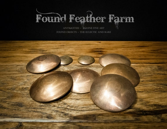 Set of Six Flat Backed Vintage Copper Convex Roundels ~ A great find!