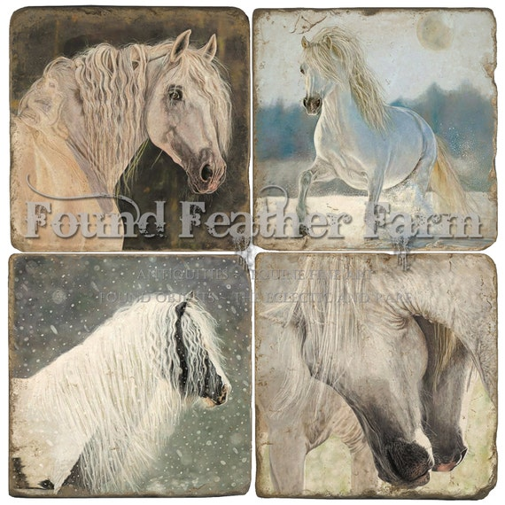 Set of Four Fine Italian Tumbled Marble Coasters with Original Equine Art Images