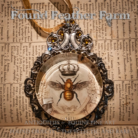 Handmade Embellished Glass Honey Bee with Crown Cabachon Ornament with Ribbon and Magnet