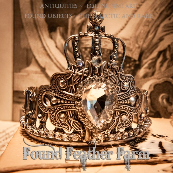 Handmade Silver Metal Crown with an Ornate Silver Detail, A Silver Crown and Sparkling Rhinestones