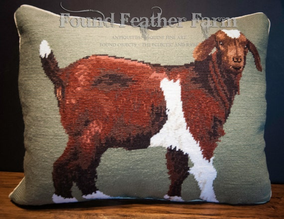 Handmade Wool Needlepoint Pillow of a Billy Goat with Down Fill