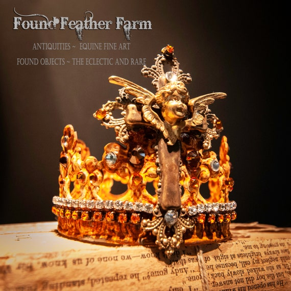 Handmade Rusted Patina Crown with Ginger Brass Jeweled Cross and Repousse Brass Cherub Detail