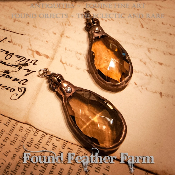 Soldered Honey Toned European Crystal with a Copper Patina and Bronze Crown End Cap