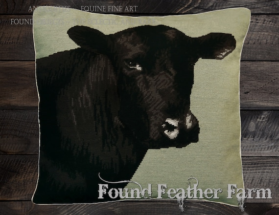"""Handmade Wool 20"""" x 20"""" Needlepoint Pillow of a Black Angus Cow with Down Fill"""