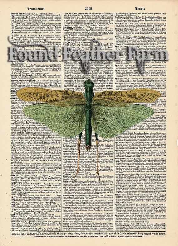 "Vintage Antique Dictionary Page with Antique Print ""Grasshopper"""