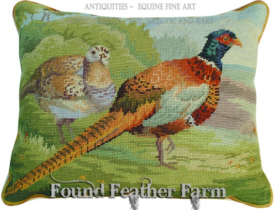Handmade Needlepoint Pheasant Pillow with Goose Down Insert