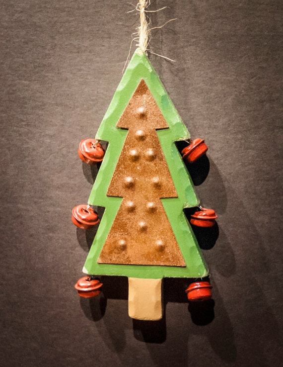 Wooden and Tin Pine Tree with Red Jingle Bells Christmas Ornament