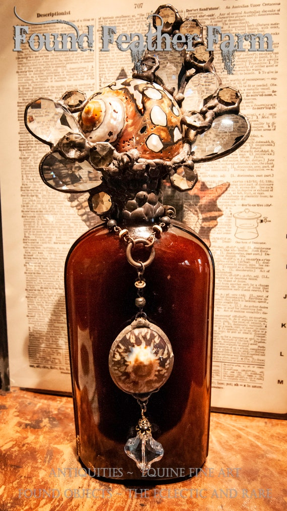 """Magnificent Handmade Seashell Cross Bottle with an Antique 1880 Amber Glass Bottle From the """"Ocean Collection"""""""