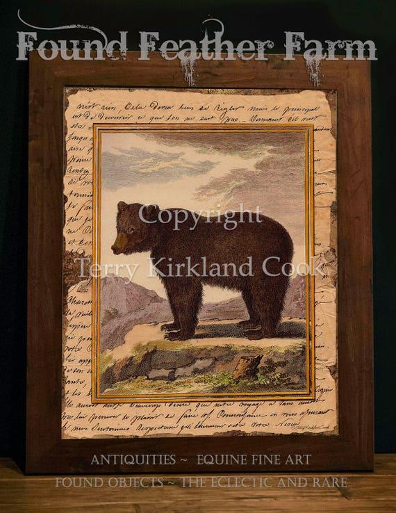 """Big Brown Bear ~ Original Vintage Art Collage 20"""" x 24"""" Framed Giclee Print"""