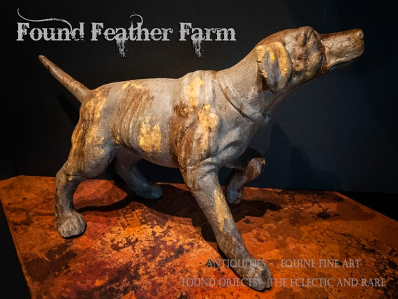 Rustic Stone and Resin Hunting Hound Statue with a Faux Finshed Rusted Finish