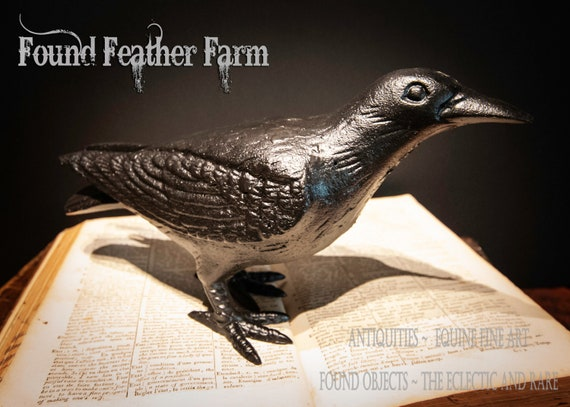 Black Cast Iron Crow in a Standing Position