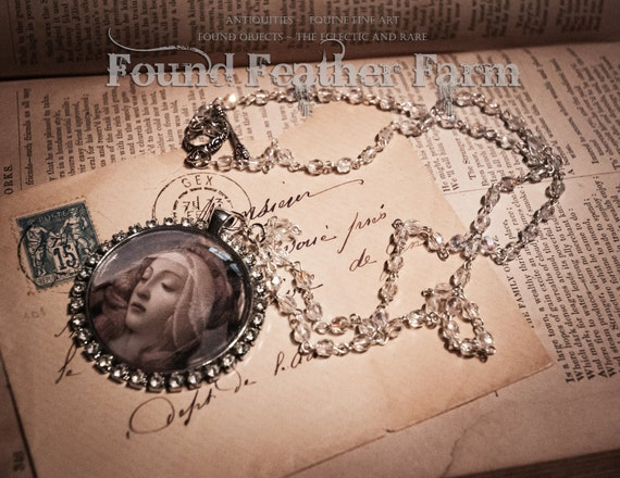 Handmade Renaissance Domed Glass Jeweled Cabochon Pendant and Necklace