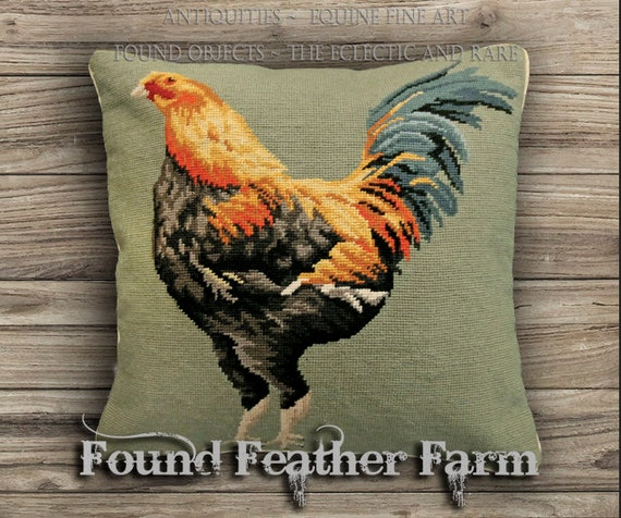 Handmade Needlepoint Pillow of An English Game Cock Chicken with Down Insert