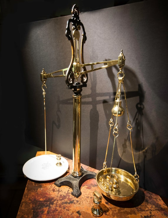 Spectacular Antique British Brass and Iron Beam Scale by John White & Sons
